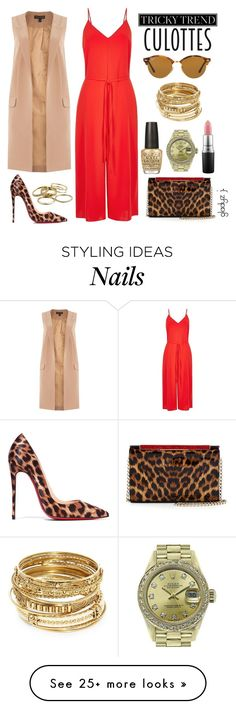 """""""we indepent women, some mistake us for whores; i''m sayin...why spend mine, when i can spend yours?"""" by gladyzjetson on Polyvore featuring River Island, Lipsy, Christian Louboutin, Ray-Ban, Kendra Scott, MAC Cosmetics, OPI, ABS by Allen Schwartz, Rolex and TrickyTrend"""