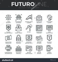 Modern Thin Line Icons Set Of Cyber Security, Computer Network Protection. Premium Quality Outline Symbol Collection. Simple Mono Linear Pictogram Pack. Stroke Vector Logo Concept For Web Graphics. - 377424148 : Shutterstock
