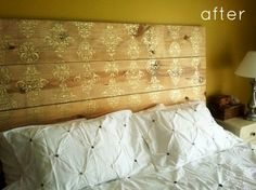 $80 DIY Headboard for bedroom **need lumber-cut plank wood & paint & stencil** 20 Ideas for Making Your Own Headboard