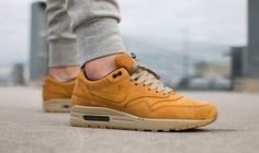 the latest 9746f 3f645 On foot look at the Nike Air Max 1 LTR PRM Wheat. Available now.