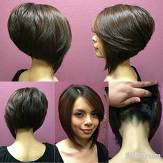 New Bob Haircuts 2019 & Bob Hairstyles 25 Bob Hair Trends for Women - Hairstyles Trends Short Stacked Bob Haircuts, Asymmetrical Bob Haircuts, Stacked Bob Hairstyles, Bob Haircuts For Women, Bob Hairstyles For Fine Hair, Short Hair Cuts, Short Hair Styles, Short Pixie, Hairstyles Haircuts