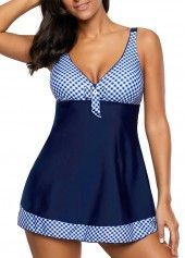 Blue V Neck Printed Tankini Top and Panty   Rosewe.com - USD $29.47