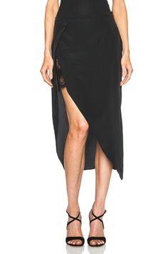 Mason by Michelle Mason Lace Slip Wrap Silk Skirt in Black
