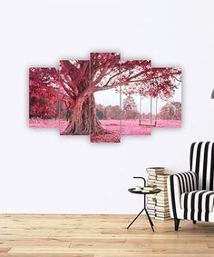 Accent a bare wall with this eye-catching artwork boasting vibrant hues and an intriguing five-panel design. 5 Panel Wall Art, Horizontal Wall Art, Autumn Trees, My Room, Cherry Blossom, Vibrant, Tapestry, Invitations, Artwork