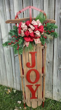 i like the joy but not the bow christmas sled rustic christmas winter christmas - Wooden Sled Decoration Christmas