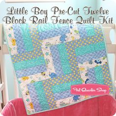 Little Boy Pre-Cut Twelve Block Rail Fence Quilt Kit<br/>Featuring Little One Flannel Too! by KimberBell Designs
