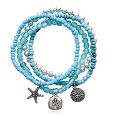 Sea Blue Glass Stretch Charm Bracelet Set with Sterling Silver