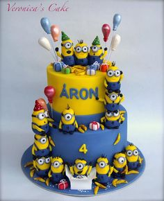 Minion Cake by Minions Birthday Theme, 4th Birthday Cakes, Minion Party, Cupcakes Dos Minions, Minion Cookies, Bolo Minion, Cake Minion, Lego Cake, Fondant Minions