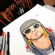 Kurt Cobain, Donald Cobain, Copic, Nirvana Art, Extreme Metal, Alphabet Print, Fade To Black, Weird Art, Music Is Life
