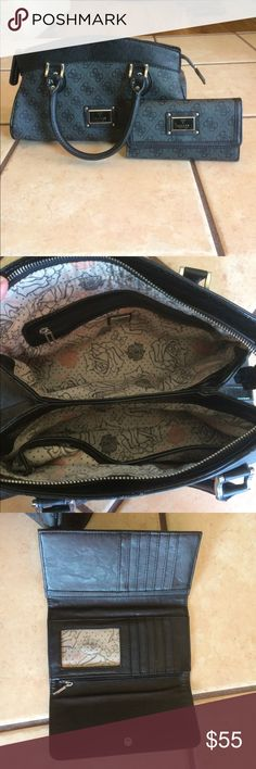 Guess purse with wallet Minimal to no signs of use guess purse and matching tri fold wallet!! Guess Bags Shoulder Bags