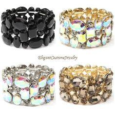 4 colors available Chunky Crystal Stretch Bracelet Elegant Formal Jewelry  www.ElegantCostumeJewelry.com