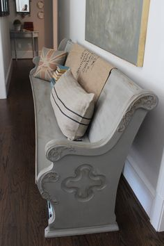 Refinished church pew-- Annie Sloan Chalk Paint in French Linen
