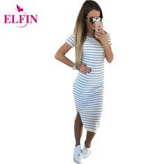 Aliexpress.com: Comprar Mujeres Vestido ocasional Del Verano de Manga Corta…
