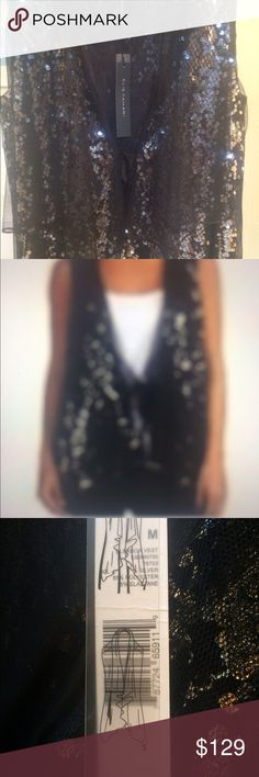 "Elie Tahari ""Eleanor"" Vest Elegantly airy vest from Elie Tahari adds illustrious edge to any outfit! Front ribbon closure, sparking black sequined detailing. Sleeveless, Flared Bottom Hem, Dry Clean Only, Product Size M, Brand New. Retail Tag Price $298. Has Sold Out. Elie Tahari Tops"