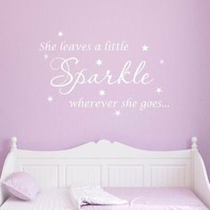 Harriet Bee Bernhardt She Leaves a Little Sparkle Wherever She Goes Wall Decal Size: H x W, Finish/Colour: White Stripped Wall, Personalized Growth Chart, Room Stickers, Vinyl Wall Quotes, Name Wall Decals, Stencil Painting, Baby Decor, Sparkle, Leaves