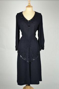 1940s Vintage Dress Black Crepe Bead + Sequin Detail with Peplum | Mela Mela Vintage