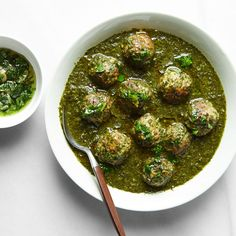 Sami Tamimi, Turkey Thighs, Chopped Spinach, Chicken Meatballs, Cooking Together, Palak Paneer, Soups And Stews, Cilantro, Food Styling
