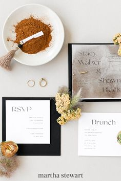 Though many couples planning micro weddings skip formal stationery, a clean, unfussy suite contributes to the sense of occasion. Focus on a few main elements, and choose natural, modern materials, like those in this suite from Bourne Paper Co. #weddingideas #wedding #marthstewartwedding #weddingplanning #weddingchecklist Wedding Ceremony, Wedding Bands, Groom Boutonniere, Bride Accessories, Floral Centerpieces, Modern Materials, Event Design, Weddingideas, Wedding Bouquets