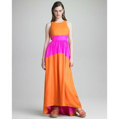 colorblock maxi dresses | Tibi Featherweight Sleeveless Colorblock Maxi Dress