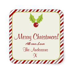 Festive Candycane Christmas Square Sticker