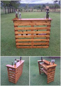 Creative Ideas for Recycled Wood Pallets Wood Pallet Wine Bar Wooden Pallet Projects, Pallet Crafts, Diy Pallet Furniture, Woodworking Projects Diy, Wooden Pallets, Diy Projects, Project Ideas, Teds Woodworking, Bar Furniture