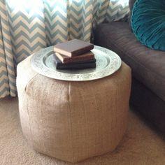 Large Natural Burlap Pouf - Floor Pillow - Floor Cushion on Etsy @Sheila Sexton