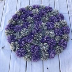 Pom Pom Rug, Purple and Gray Office Rug, inch Circle Rug Grey Office, Office Rug, Pom Pom Rug, Circle Rug, Yarn Crafts, Are You The One, Favorite Color, Kids Room, Things To Come