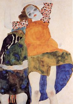 """ Two seated girls "", 1911 - Egon Schiele"