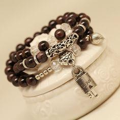 natural crystal/garnet bracelet love lock  recruit desires of the heart  multi-layer beaded bracelet women's accessories