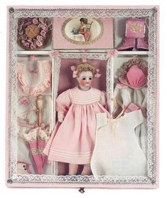 - rare german bisque child, simon and halbig with trousseau, 8""