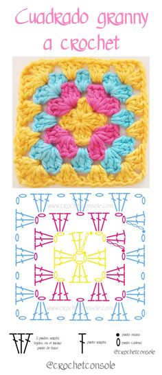 Cuadrado granny a crochet paso a paso Source by sucastroconti VEJA MAIS sucastroconti., Cuadrado granny a crochet paso a paso con video tutorial, # ✂❤ Crochet Potholder Patterns, Granny Square Crochet Pattern, Crochet Chart, Crochet Squares, Crochet Granny, Crochet Motif, Crochet Flowers, Crochet Stitches, Knit Crochet