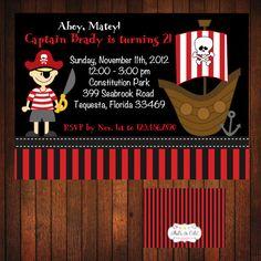 Pirate Birthday Invitation Printable by ThatsSoCuteEtsyShop, $12.00