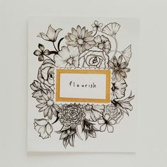 illustration card Botanical Line Drawing, Botanical Drawings, Wreath Drawing, Painting & Drawing, Chelsea Logo, Hand Drawn Border, Art Diary, Doodle Designs, Papercutting