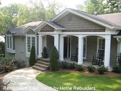 ranch home after front porch addition