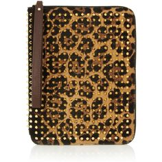 Christian Louboutin Cris spiked leopard-print calf hair iPad case ($735) ❤ liked on Polyvore