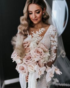 A beautiful bride in with a romantic bouquet of subtle pink hues! Wedding Dress Trends, Wedding Bouquets, Floral Wedding, Wedding Gowns, Wedding Flowers, Blush Bouquet, White Orchid Bouquet, Bouquet Toss, Bridal Skirts