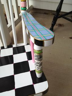 "$299.This child's rocking chair was requested in purples, lavenders and greens. The customer liked the pattern of the ""Zoe"" design, but requested color modifications. She also wanted a table to match. Ta Da!!! What a lucky little girl Sasha is!!   hand painted chairs 