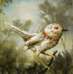 """The Teacup Gnatcatcher 12x12"""" acrylic kevin sloan gardner colby galleries"""