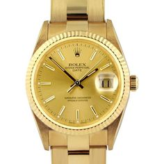 Rolex Oyster Perpetual Date Watch Champagne Dial 18k Gold ❤ liked on Polyvore featuring jewelry, watches, gold jewelry, yellow gold jewelry, 18k gold watches, 18 karat gold jewelry and pre owned watches