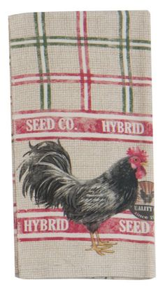 Home to Roost has a rustic country print -- the black and white rooster is in the foreground, while the green and red plaid background is a burlap seed bag print.