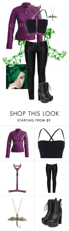"""""""Purple Leather Jacket"""" by gone-girl ❤ liked on Polyvore featuring Theory, Giuseppe Zanotti, Tripp, Hot Topic and Breckelle's"""