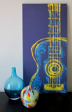 Brad  Six String in Yellow 12 x 24 Mixed Media on Canvas..Easy - Bonus Room