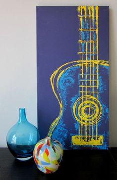 Brad  Six String in Yellow 12 x 24 Mixed Media on Canvas..Easy - Bonus Room