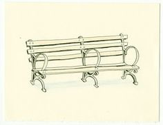 Park bench drawing.