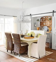 Midwest Living's former home editor shares the secrets behind her budget-savvy dream cottage in Wisconsin's Door County. Decor, Interior Design, Home, Dining, Room, Interior, Indoor Dining, Dining Room Inspiration, Room Inspiration