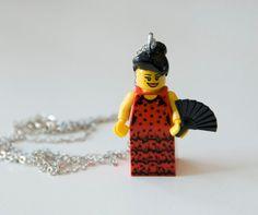 OMG!Flamenco Dancer With Fan Lego Mini Figure Necklace by Heidzz, $15.00