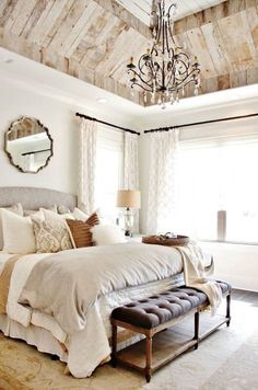 Modern Country Bedrooms, Country Master Bedroom, Country Bedroom Design, French Bedroom Decor, Country Interior, Home Bedroom, Bedroom Ideas, French Decor, French Inspired Bedroom