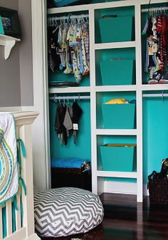 Add a pop of color to a nursery with a bright closet interior.