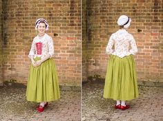 """Mode de Lis: · Red & Cream 1770s Jacket with red """"Kensington"""" 18th century leather shoes, by American Duchess"""