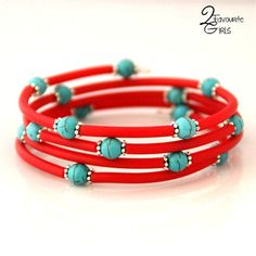 Turquoise Bead and Red Rubber Bracelet